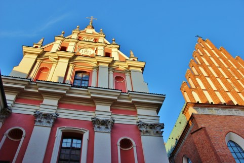 Old Town side-by-side churches in Warsaw, Poland