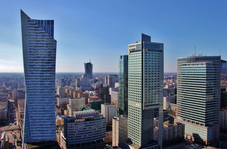 View of modern Warsaw from the Palace of Culture and Science viewing platform in Warsaw, Poland