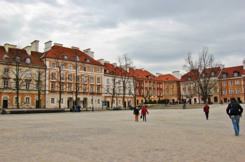 Wide and spacious New Town Main Square in Warsaw, Poland