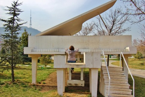 Giant piano sculpture at Rike Park, Tbilisi, Georgia