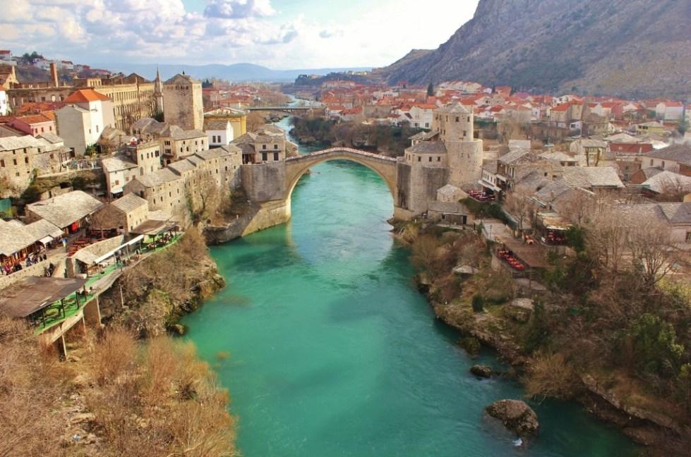 Old Bridge and Neretva River from Koski Mehmet-Pasha Mosque in Mostar, Bosnia-Herzegovina