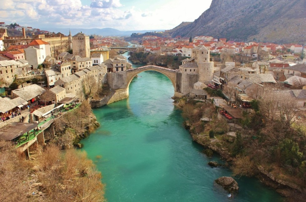 Old Bridge and Neretva River from Koski Mehmet-Pasha Mosque in Mostar, Bosnia-Herzegovina