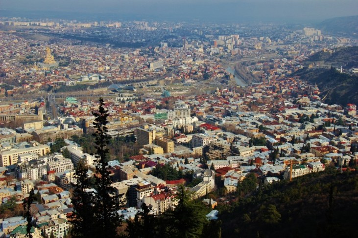 Tbilisi City View from Upper Funicular and Mtatsminda Park, Tbilisi, Georgia