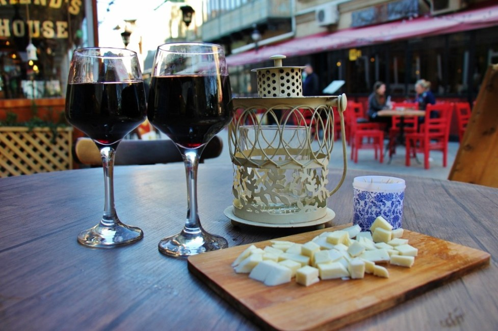 Red Wine andsalty cheese at Vinoground, Tbilisi, Georgia