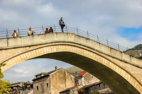 Bridge diver in Mostar, Bosnia and Herzegovina