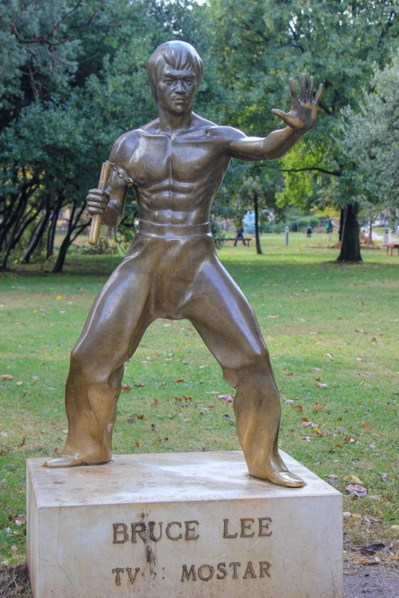 Bruce Lee Statue in Mostar, Bosnia and Herzegovina