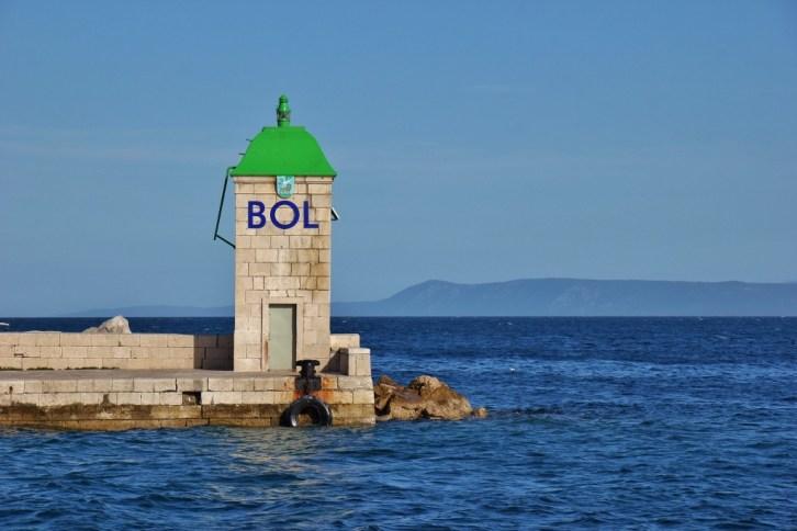 Green channel marker in Bol, Brac, Croatia