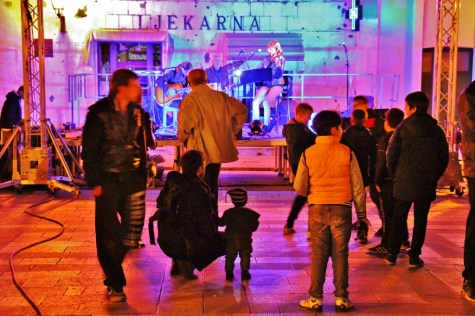 Band performs on Kacic Square during Wine Festival, Makarska, Croatia