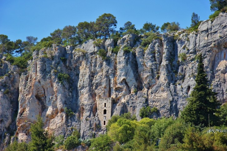 Dwellings built in the rocks on Marjan Hill in Split, Croatia