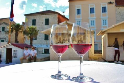 Wine glasses at wine festival on Kacic Square, Makarska, Croatia
