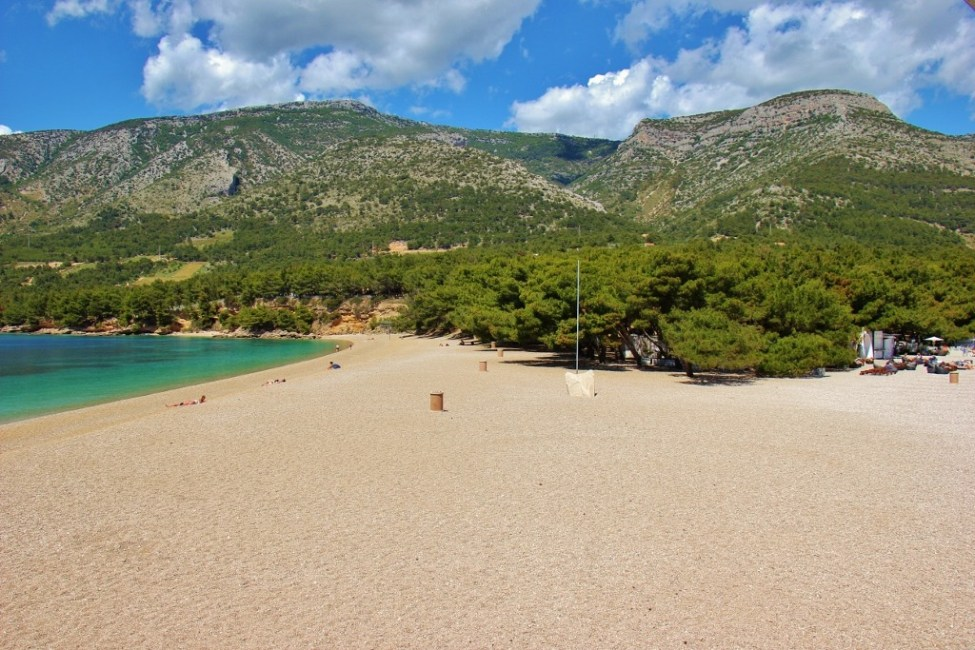Vidova Gora mountain from Zlatni Rat Beach in Bol, Brac, Croatia