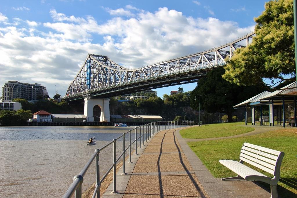 Riverfront path at Captian Burke Park under Story Bridge in Brisbane, Australia