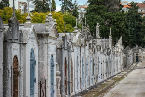 Row of mausoleums at Cemiterio dos Prazeres, Lisbon, Portugal