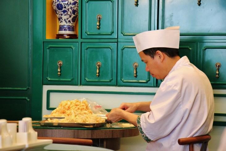 Chef making wontons at Mak's Noodles in Central Hong Kong