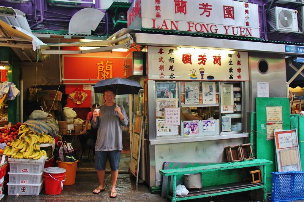Milk Tea from Lan Fong Yuen on a rainy day in Hong Kong