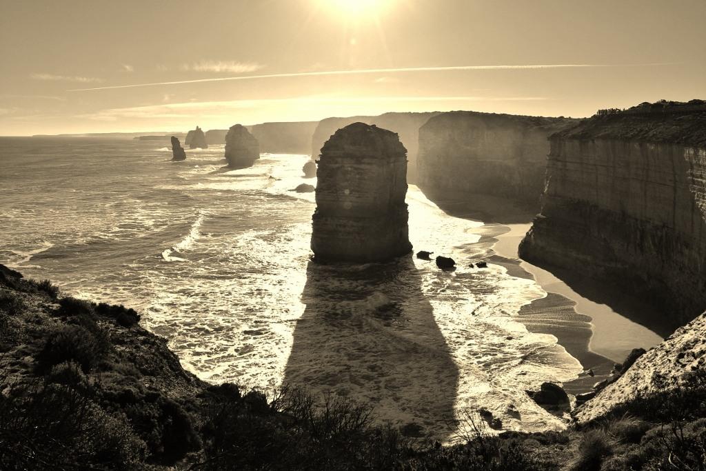 12 Apostles Rock Formations in Black and White, Great Ocean Road, Australia, JetSettingFools.com