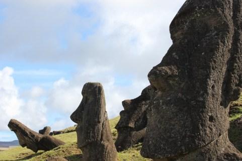 Half buried moai at Rano Raraku on Easter Island, JetSettingFools.com