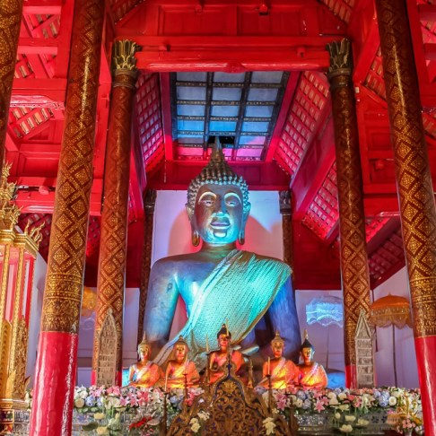 Illuminated Buddha statue in Chiang Mai, Thailand