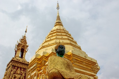 Golden Pagoda at Doi Suthep Temple in Chiang Mai, Thailand