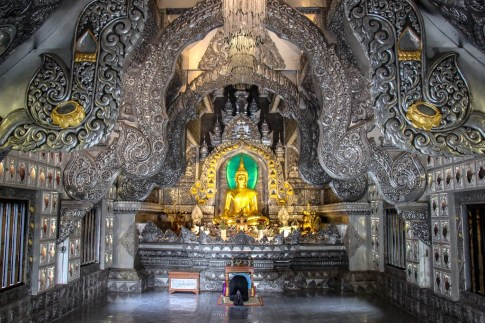 Interior of Wat Sri Suphan Silver Temple in Chiang Mai, Thailand