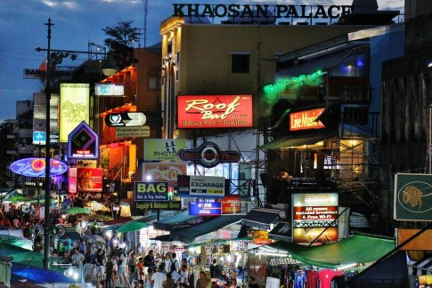 Khao San Road at night in Bangkok, Thailand