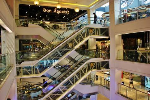 Escalators at Siam Center Mall in Bangkok, Thailand