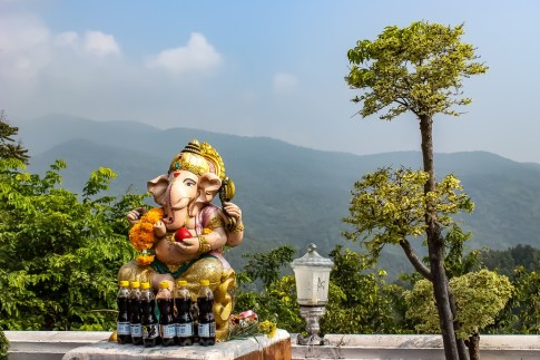 Viewing Platform and mountain views at Doi Kham Temple in Chiang Mai, Thailand