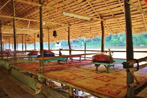 Bamboo hut restaurants at Chiang Rai Beach in Chiang Rai, Thailand