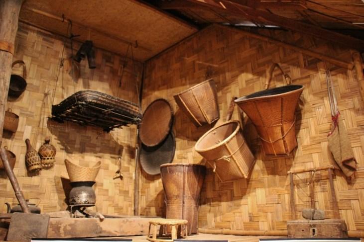 Handwoven baskets at TAEC museum in Luang Prabang, Laos