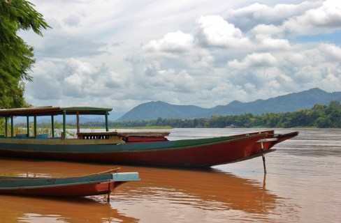 Typical boats on Mekong River in Luang Prabang, Laos