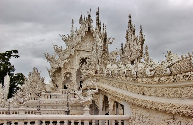 The ornate bridge at the White Temple in Chiang Rai, Thailand