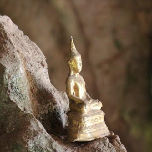 Golden Buddha Statue inside Pak Ou Caves, Buddha Cave, Laos