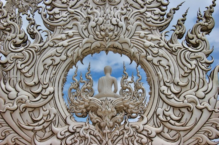 An ornate Buddha sculpture at the White Temple in Chiang Rai, Thailand