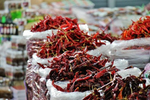 Bags of dried chilis for sale at Morning Market in Chiang Rai, Thailand