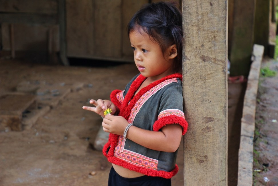 Girl wearing traditional clothes in Ban Houy Pha Lam village, Laos