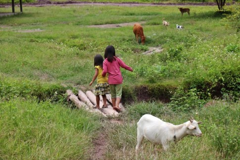Children playing in Ban Kok Eak Village, Laos