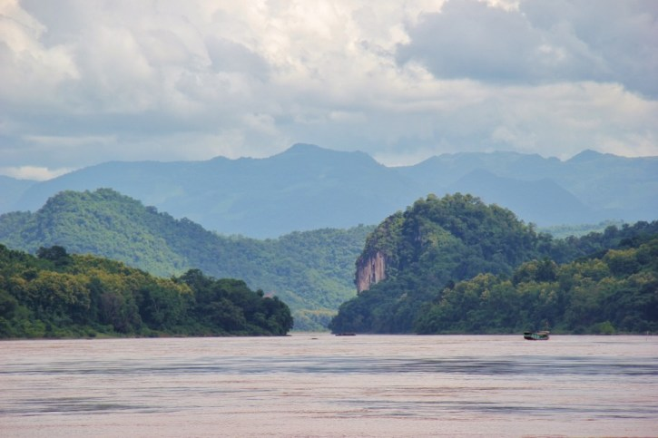 Mountainous landscapes on Mekong River in Laos