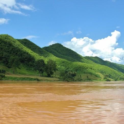 Lush mountains on Mekong River, Laos