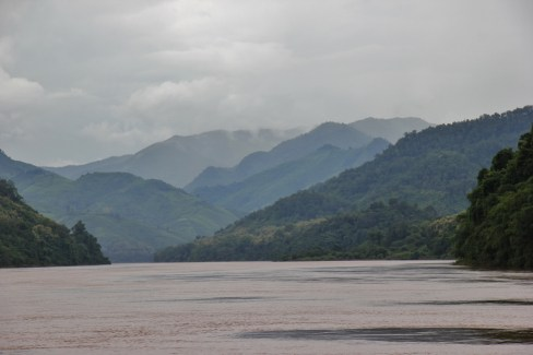 Misty mountains on Mekong River, Laos