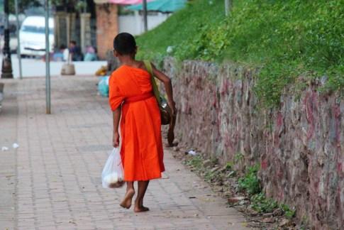 Young novice monk walks alone in Luang Prabang, Laos