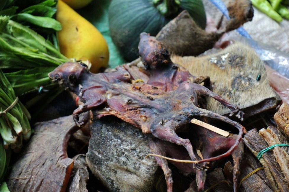 Rat On A Stick in fresh market in Pakben, Laos