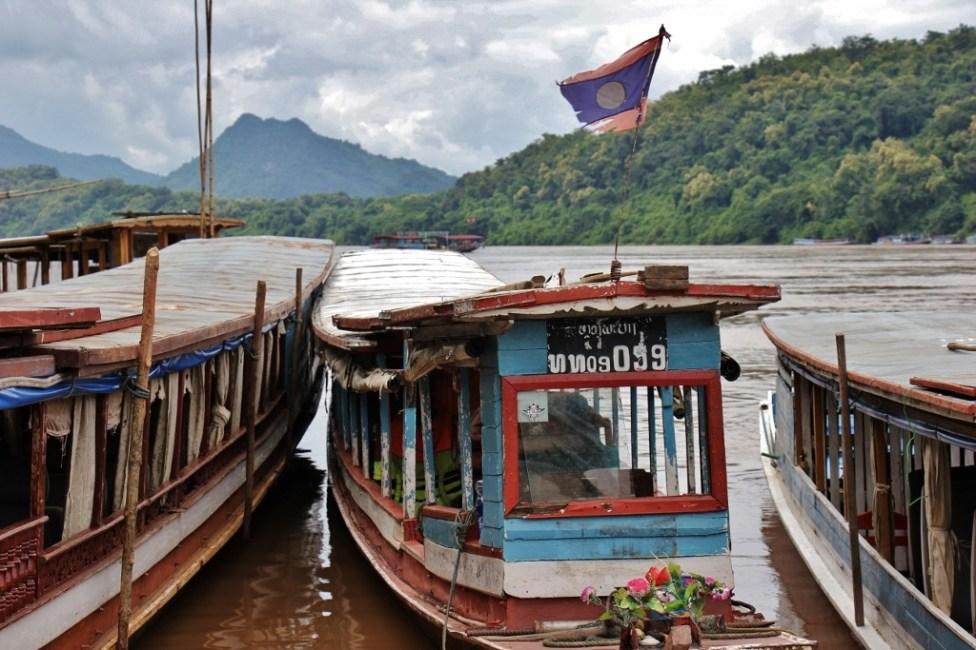Classic river boat on the Mekong River in Luang Prabang, Laos