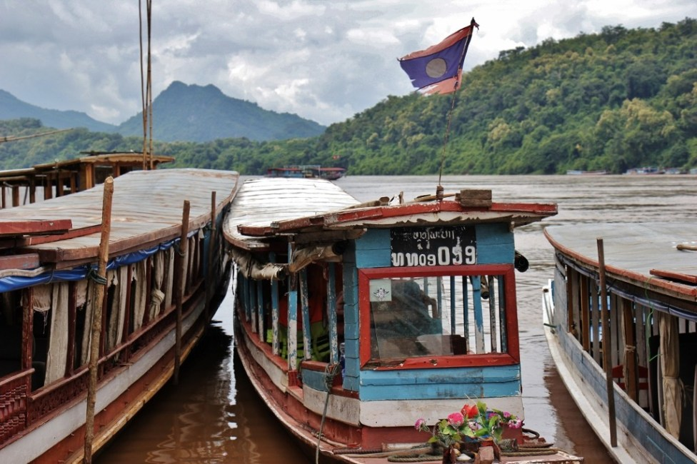 Classic river boat on the Mekong River in Luang Prabang, Laos
