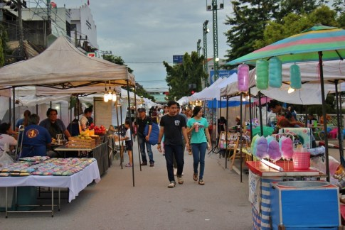 Shoppers at Saturday Walking Street Market in Chiang Rai, Thailand