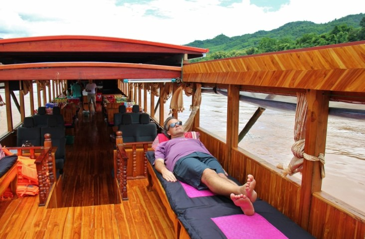 Lounging on a Lao Slow Boat on the Mekong River