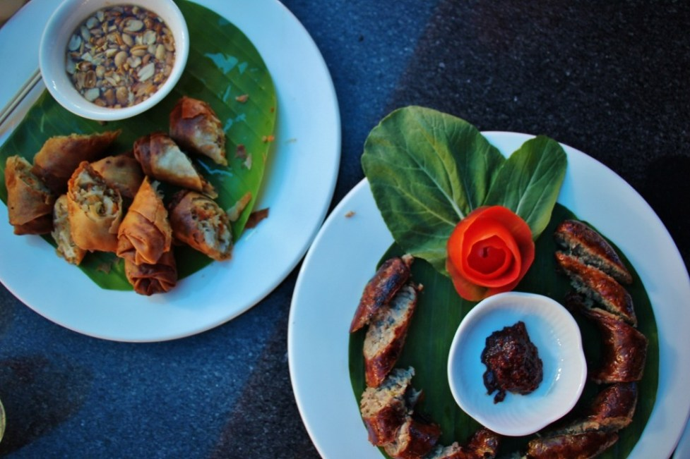 Laos cuisine, fried spring rools and Laos Sausage, in Luang Prabang, Laos