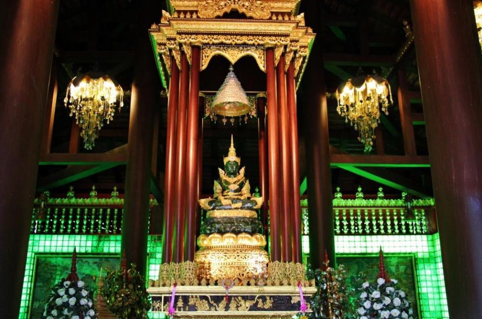 The Emerald Buddha at Wat Phra Kaew Temple in Chiang Rai, Thailand