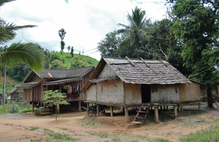 Stilted wooden house in Ban Houy Pham Lam Village in Laos