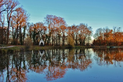 Autumn reflections on pond at Maksimir Park in Zagreb, Croatia
