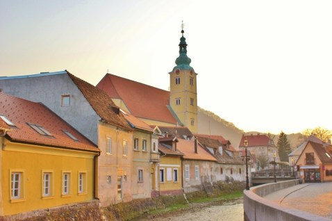 Pastel buildings in Samobor, Croatia